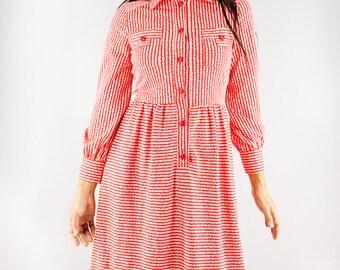SALE Vintage Dress | 70s Japanese Shirt Dress | Red x White Striped Dress | Long Sleeve Dress | Collared Shirt Dress |  Mod Dress | XS