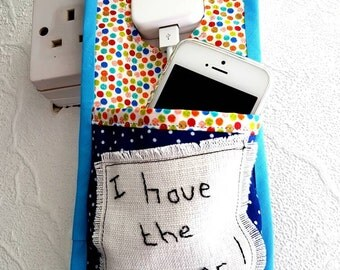 Personalised Phone charging pocket, Phone charger tidy, cable tidy, phone storage, charging dock.