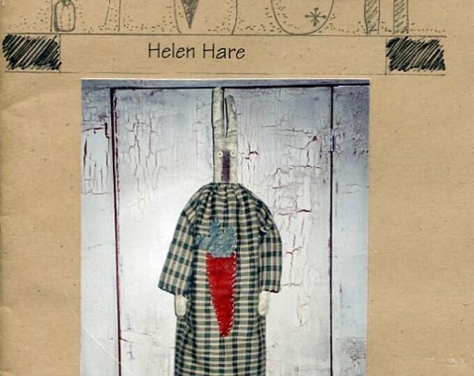 "FREE US SHIP Lizzie's Home Spun Primitive Folk Art Doll Helen Hare Bunny Rabbit 27.5"" Old Store Stock Sewing Pattern Ragdoll cloth"