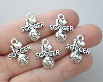 8 Pcs Soccer Charms Soccer Ball Charms Antique Silver Tone 20x16mm - YD0132