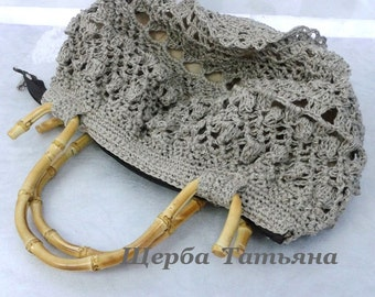 Knitted bag, Handbags Handmade,Crochet bag,Linen Bag,handles made of bamboo