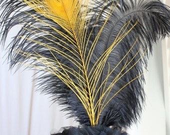 Gatsby, Roaring 20's black and gold feather cake topper, overthetopcaketopper