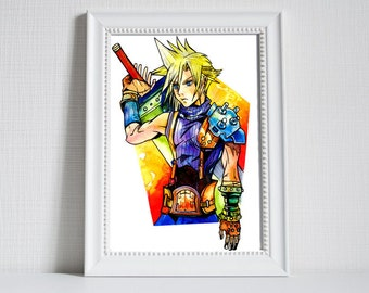 Cloud Strife Water colour painting - print - Final Fantasy