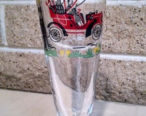 Libbey Horseless Carriage Model C 1905 Buick Safedge Footed Pilsner Glass -Vintage 1950s