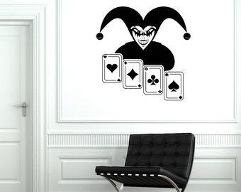 Wall Vinyl Decal Cards Poker Joker Ace Casino Decor 2006di