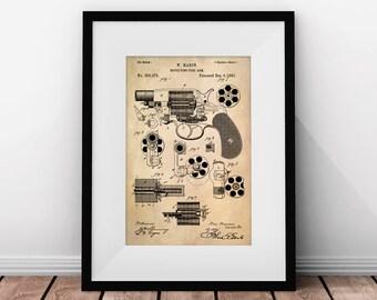 Gun Art, Patent Art, Colt M1889, Revolver, Gun Gifts, Firearm, Pistol, Weapon, Gun Patent, Revolver Prints, Gun Printable Art