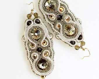 Gift for her Wedding earrings with crystal Gold Ivory earrings Bridal dangle earrings Bohemian jewelry Soutache Champagne rhinestone earring
