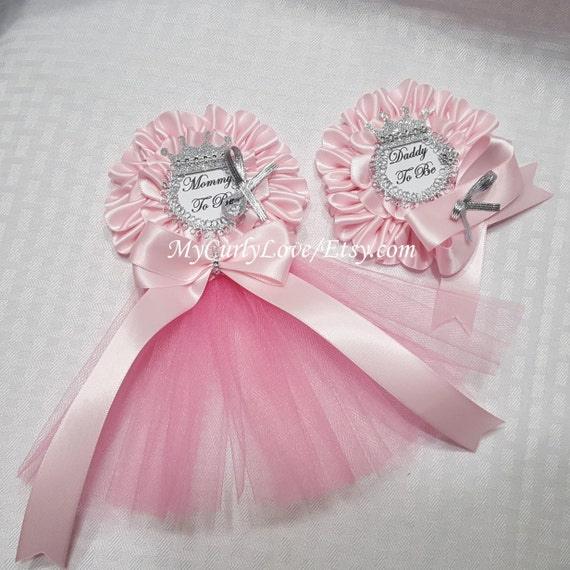 silver and pink baby shower mommy to be pin silver princess ballerina
