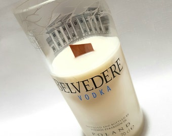 Upcycled/Recycled Belvedere Vodka Bottle Soy Candle + Optional Glass. Choose your own fragrance
