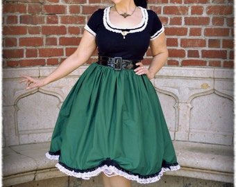 Haunted Mansion Ghost-ess Original Dark Green Cotton Deluxe Character Bounding Skirt in Regular and Plus Size 2-32+