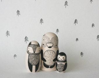 STAY WILD set of 3 black and white wooden handpainted russian nesting dolls / matryoshka dolls / babushka dolls - bear, fox and owl