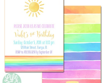 You Are My Sunshine Party Invitation | Sunshine Invitation | Rainbow Invitation - 5x7 with reverse side