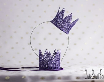 Purple lace crown headband or elastic perfect for Disneyland, princess dress up, birthday, cake topper, or photography prop