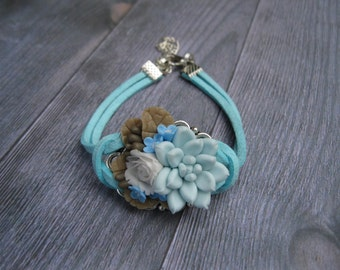 Best friend gift/for/sister Light blue bracelet Blue flower bracelet Rose bracelet Succulent bracelet Floral bracelet forget me not jewelry