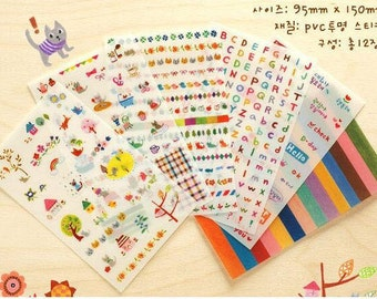 Cute Scribble Cat Stickers / Cute Planner Stickers (6 sheets) / Cute Stickers / Korean Stationery / Cute Diary Sticker / Kawaii Stickers