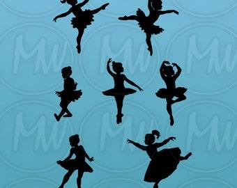 Ballerina Silhouettes, Dance Silhouettes, Girl Silhouette, ClipArt, Vector Illustration, Ballet, Dance, Instant Download, Digital Stamp #111
