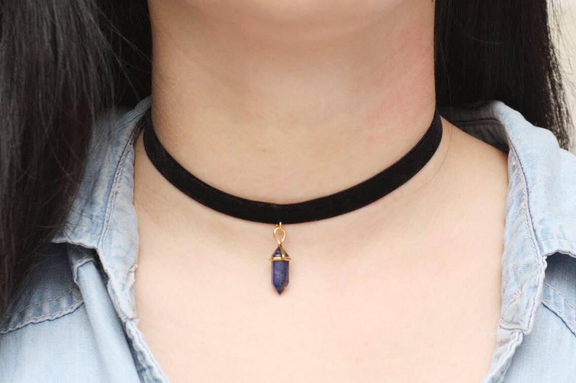 lapis lazuli choker necklace velvet choker unique choker