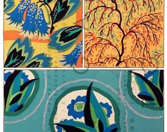 FABULOUS Art Deco Flowers. Vintage Fabric Floral Patterns. Digital Flowers Download. French Pochoir Deco Printable Image.