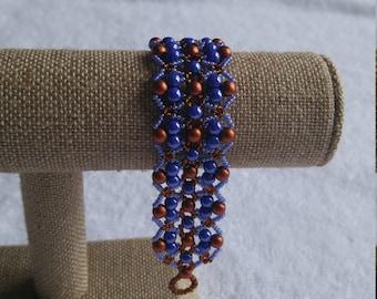 Women's Beaded Bracelet/RounDuo Bracelet/Blue Shimmer Bracelet