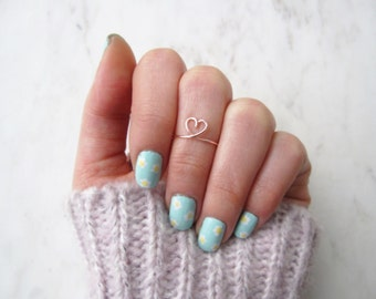 Rose Gold Heart Ring//heart knuckle ring, friend ring, love, delicate ring, chic, heart midi ring, little heart ring, Dainty,Adjustable ring