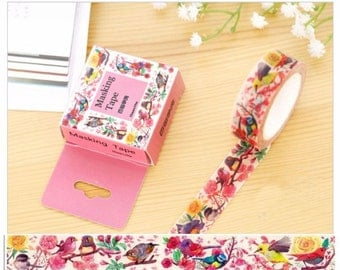 Pretty Flower Birds Washi Tape - Colorful Song Birds, Deco Sticker Masking Adhesive, 15mm x 10m
