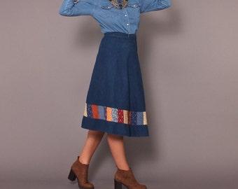 1970s Vintage Denim Wrap Around Jean Skirt with Calico Patchwork