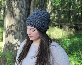 Grey Slouchy Beanie, Grey Slouchy Hat, Grey Beanie, Dark Grey Hat, Grey Crochet Hat, Grey Winter Hat, Grey Women's Hat, THE DENALI