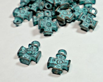 Green Patina, Rustic Cross Boho Charms, Mykonos Greek Metal Copper Casting, 12x16mm Dangle, (2 Pc) DIY Jewelry, Bead Supply