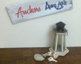 Anchors Away - Beach Signs - Anchor Sign - Nautical Signs - Anchor Decor - Nautical Decor - Anchors Aweigh Sign - Birthday Gift Idea