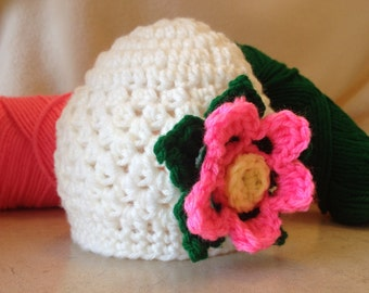 Hand Crochet Baby Hat, Baby Flower Hat, Hot Pink Flower Hat, White Baby Hat, Crochet Baby Hat, Baby Photo Prop, Infant Hat, Baby Girls Hat