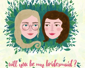 Bridesmaid Proposal, Custom Bridesmaid Card, Will You Be My Bridesmaid, Maid of Honor Card, Matron of Honor Card, bridesmaid gift