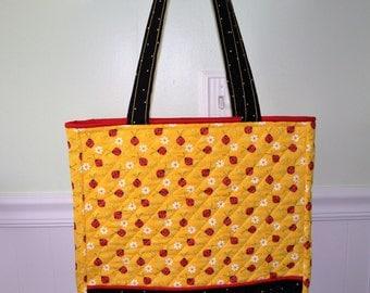 Yellow Lady Bug Tote Bag