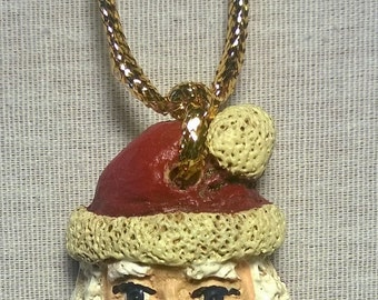 Handpainted Small Santa Necklace or Pin