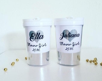 Flower Girl Sippy Cup, Personalized girl tumbler, Flower Girl cup, Kids Tumbler Cup with Straw, Flower girl gift, Personalized kids Cup