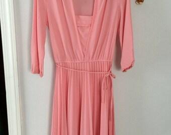 Sweet pink lampshade pleat dress