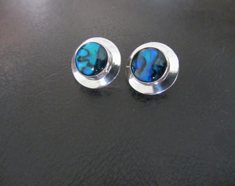 Sterling Silver Blue Paua Shell Concho Earrings