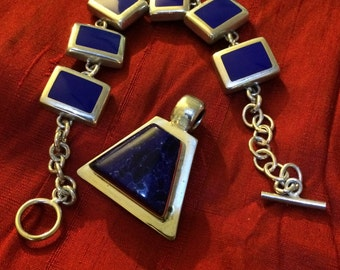 925 Solid Sterling Silver and Cobalt blue