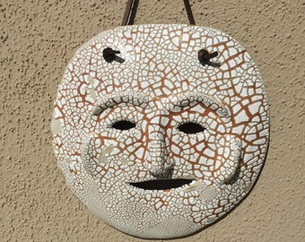 Unique, handmade, artistic, one-of-a-kind, ceramic mask, ceramic wall art