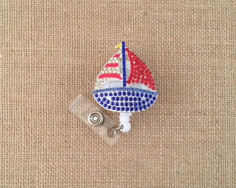 Sailboat Bling-Designer Badge Holder-Boat Badge Reel-Lovely Badges-Sailboat Badge Holder-Sailboat Badge Reel-Id Badge Holder-Boat Badge Reel