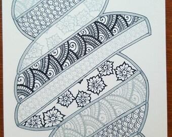 Black silver drawing henna mehndi original A029