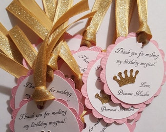 pink and gold glitter party favor tags * princess party tags * pink and gold birthday decor * princess birthday decor * party favor tags
