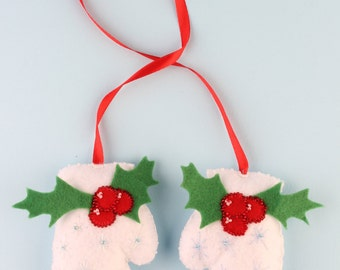 Christmas tree white Felt Mittens Ornament with snowflakes and Holly beads, 2 pieces set