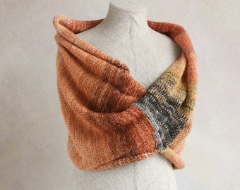 Autumn boho scarf / Evening shrug wrap /  Cozy mohair wrap for winter / Knit infinity shawl for fall - Smoked Salmon