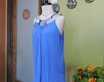 Blue knit top with colored neck band