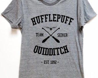 "FOR WIZARDS shirt ""Hufflepuff Quidditch"" for potter hogwart voldemort fans comfortable affordable artsy tee for birthday gift christmas"