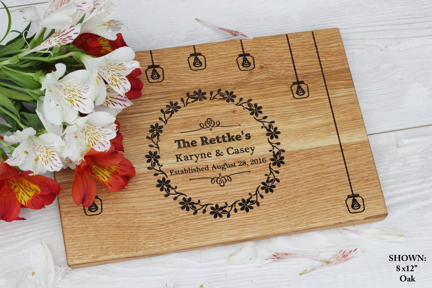 Wedding Gift Personalised: Wedding Gift Personalized Cutting Board Rustic Wedding