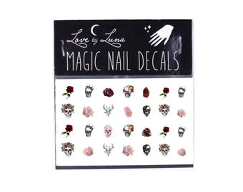 Skull Nail Decals / Flower Nail Decals / Crystal Nail Decals / Dia De Los Muertos Nail Decals / Boho Nail Decals / Festival Nail Decals