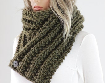 Knitting Pattern For Scarf With Buttonhole : Knitted button scarf Etsy