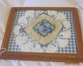 Framed crocheted  potholder