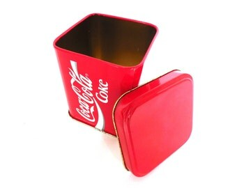 Coca Cola Storage Tin, Coca Cola Tin. Metal box, Coca Cola Collectible, Coca Cola. #646G96K11